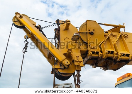 For roadside assistance cranes. Wrecker for heavy vehicles. Breakdown on the road. - stock photo