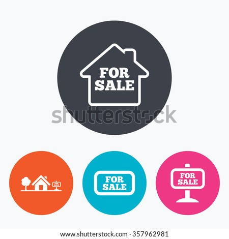 For sale icons. Real estate selling signs. Home house symbol. Circle flat buttons with icon. - stock photo