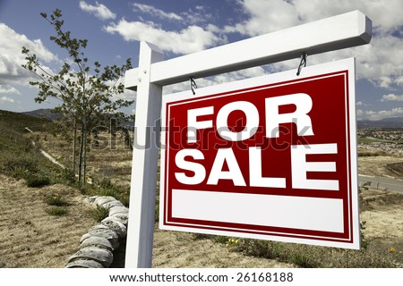 For Sale Real Estate Sign and Empty Construction Lots - Ready for your own message. - stock photo