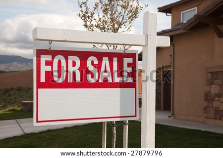 For Sale Real Estate Sign in Front of House Ready for Your Own Copy. - stock photo