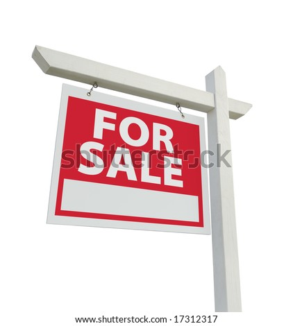 For Sale Real Estate Sign Isolated on a White Background. - stock photo