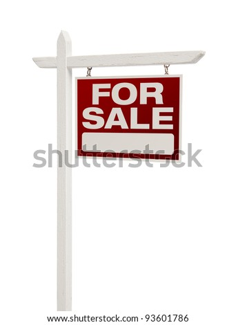 For Sale Real Estate Sign Isolated on a White Background - Facing Right. - stock photo