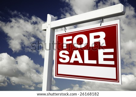 For Sale Real Estate Sign on Clouds & Sky Background - Ready for your own message. - stock photo