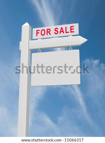 For sale real estate sign on wood post with hanging blank placard against blue sky with wispy clouds. Beveled sign post with realistic wood texture.