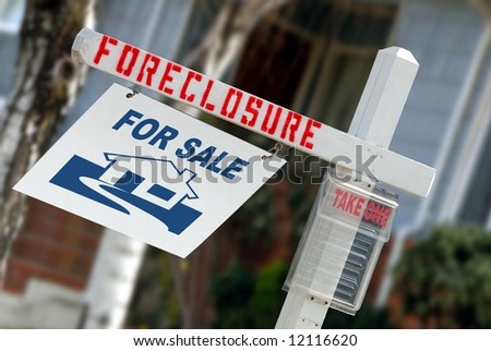 For Sale Real Estate Sign With Foreclosure Notice - stock photo