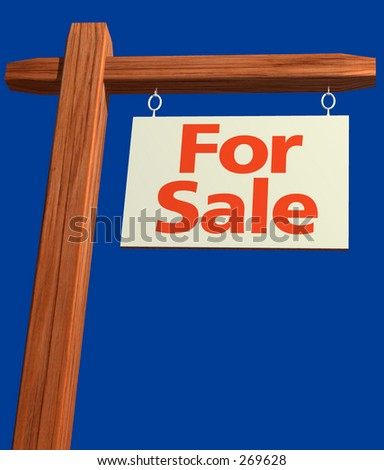 For Sale Sign angled with clipping path - stock photo