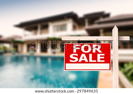 for sale sign at luxury house with pool background - stock photo