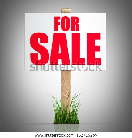 For sale sign  High resolution 3d render  - stock photo