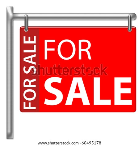 For Sale Sign in red color - stock photo