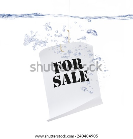 For Sale Sign on Fishing Hook Under Water - stock photo