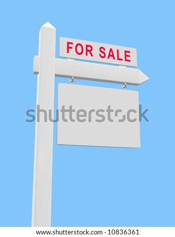 For sale sign on wooden post with blank placard suitable for real estate use. - stock photo