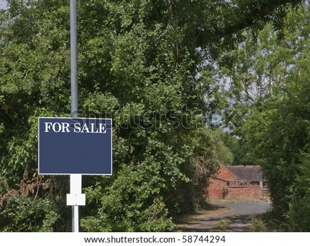 For Sale sign outside country property