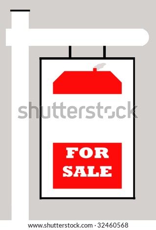 For sale sign with house, isolated on gray background.