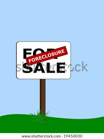 for sale sign with red foreclosure label