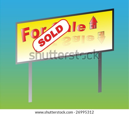 For sale sold on a color background