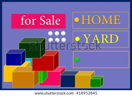 for sale  The painting shows three choices sale. The third option is free. This picture can be used for many articles. - stock photo