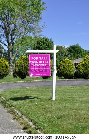 For Sale Welcome Open House  Priced to Sell Real Estate Sign on Front Yard Suburban Residential Neighborhood Home - stock photo