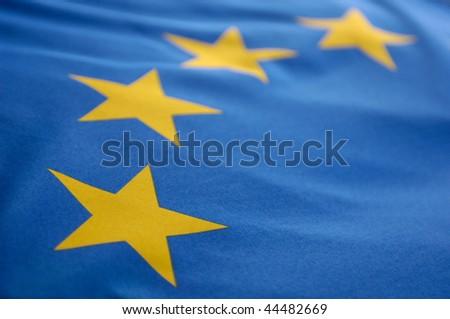For stars on a european flag in closeup - stock photo