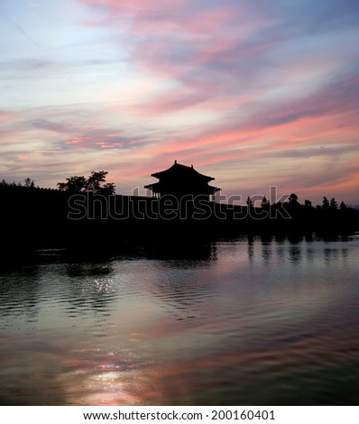 Forbidden City at night, Beijing, China -- was the Chinese imperial palace from the Ming Dynasty to the end of the Qing Dynasty - stock photo