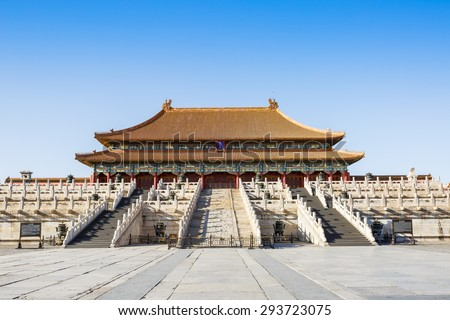 forbidden city in beijing,China - stock photo