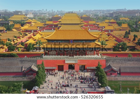 Forbidden city in Beijing from above