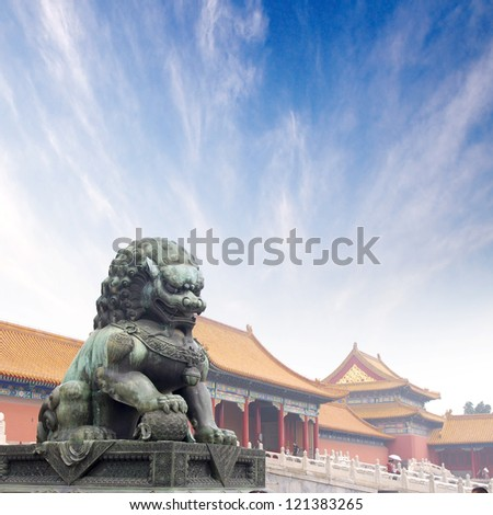 Forbidden City Lions - stock photo