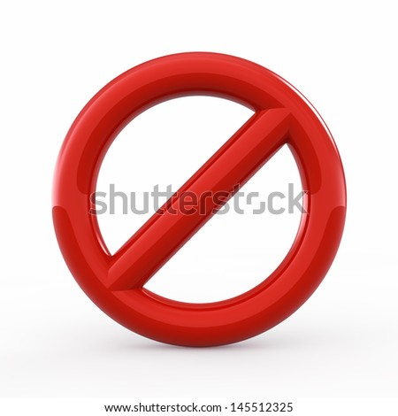 Forbidden sign on white background - stock photo
