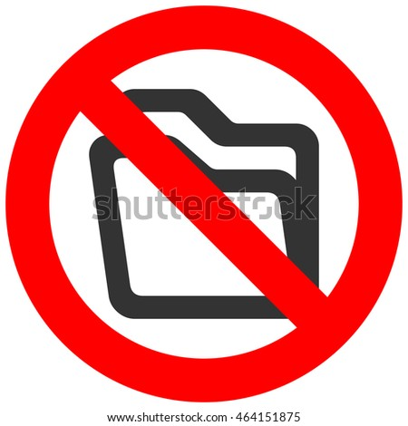 Forbidden sign with abstract folder icon isolated on white background. Using folder is prohibited illustration. Folder is not allowed illustration. Folders are banned.