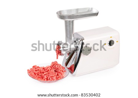 Force-meat and meat grinder. Isolated over white - stock photo