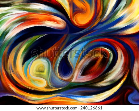 Forces of Nature series. Backdrop of colorful paint and abstract shapes on the subject of modern art, abstract art, expressionism and spirituality - stock photo