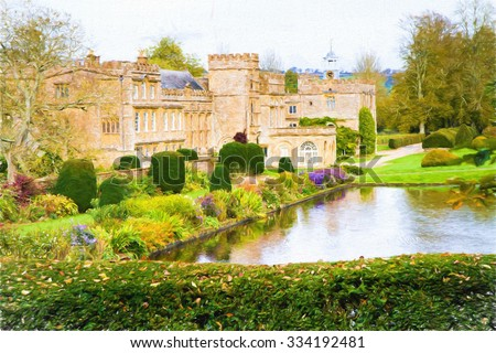 Forde Abbey Dorset England UK tourist attraction with gardens in autumn illustration like oil painting