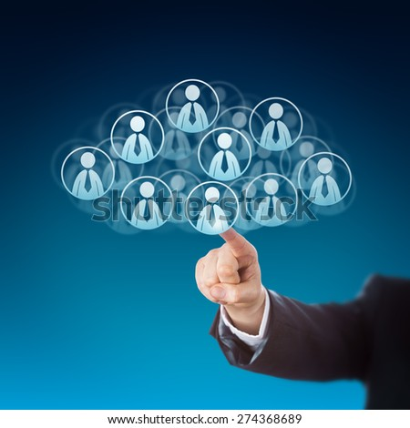 Forearm of a business person is reaching out to click on human resources icons in the cloud. Many knowledge worker buttons do shape this cloud computing symbol. Technology metaphor. Blue background. - stock photo