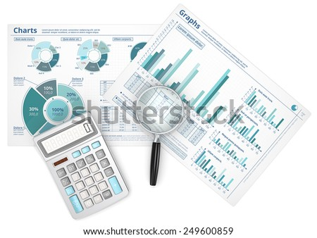 Forecast. Business data infographics with magnifying glass and calculator. - stock photo