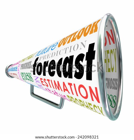 Forecast word on a megaphone or bullhorn with related terms like estimation, prediction, projection, guess and prognosis - stock photo