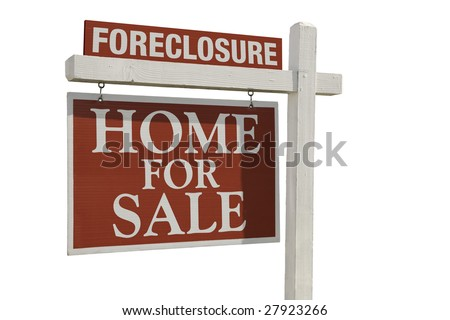 Foreclosure Home For Sale Real Estate Sign Isolated on a White Background. - stock photo