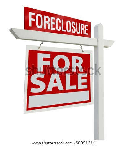 Foreclosure Home For Sale Real Estate Sign Isolated on a White Background with Clipping Paths - Left Facing. - stock photo