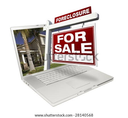 Foreclosure Home for Sale Real Estate Sign & Laptop Isolated on a White Background. - stock photo