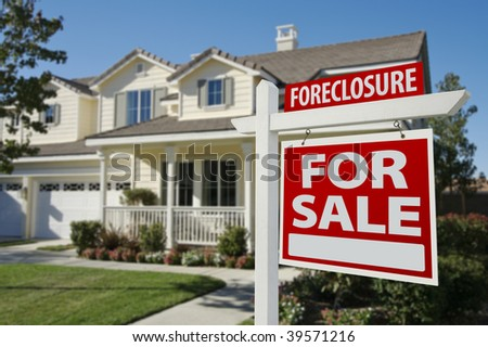 Foreclosure Home For Sale Sign in Front of Beautiful House. - stock photo