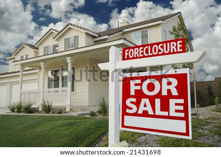 Foreclosure Home For Sale Sign in Front of New House - stock photo