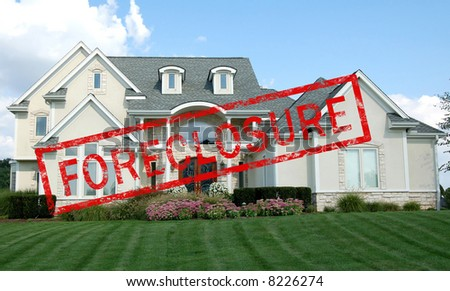 Foreclosure stamp across a luxury home - stock photo