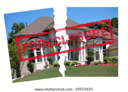 Foreclosure stamp on a luxury home torn in half - stock photo
