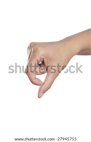 forefinger and thumb forming letter isolated - stock photo