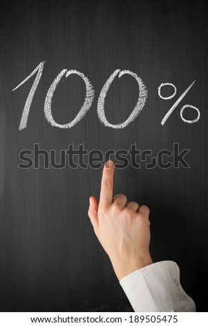 forefinger point at 100 percent title on a blackboard - stock photo