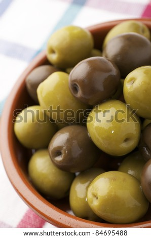 forefront of a typical Spanish green olives