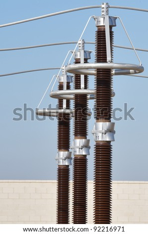 forefront of the elements of an electrical substation - stock photo