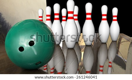 Foreground game of bowling with ball and ten pins 3d rendering - stock photo