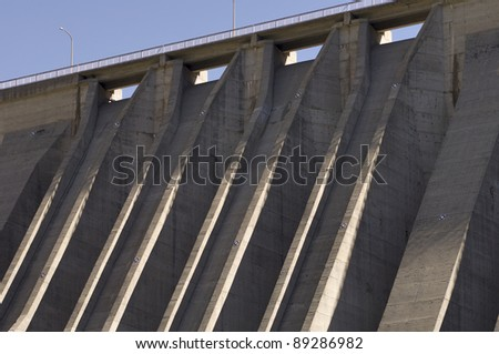 foreground hydroelectric  dam of reinforced concrete in Cavallers, Pyrenees,  Spain - stock photo