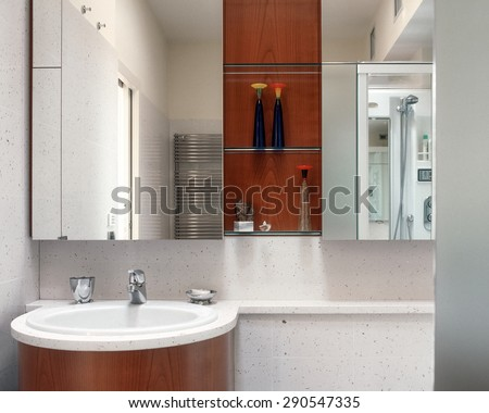 foreground of washbasin in the modern bathroom - stock photo