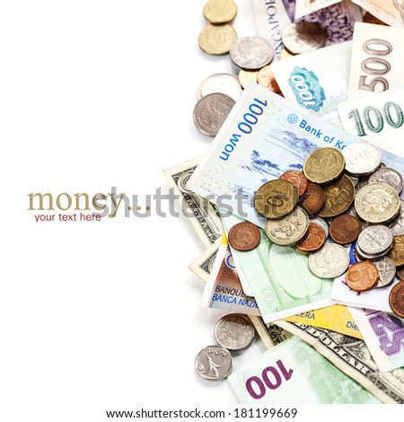 Foreign coins and banknotes. Money background - stock photo