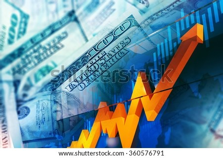 Foreign Currency Exchange Concept Illustration. United States Dollars Price Rise. Stock Exchange. - stock photo